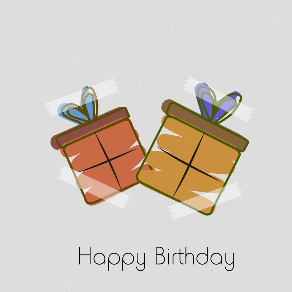 Happy Birthday Concept With Two Gift Bags Pasted With Tape On Grey Background