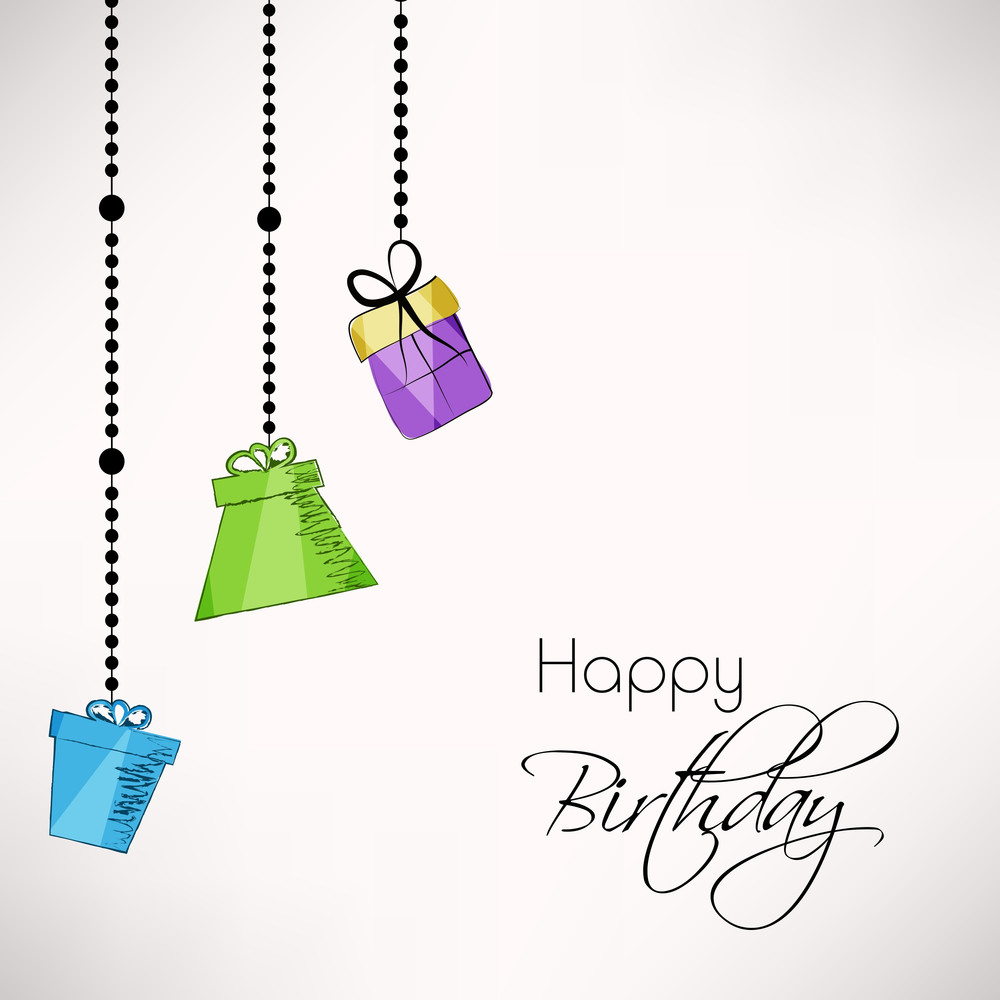 Happy Birthday Greeting Card Or Invitation Card Decorated With Hangings Of  Gift Bags On Grey Background
