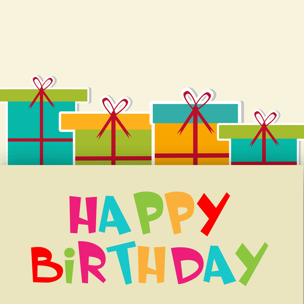 Happy Birthday Greeting Card Or Invitation Card With Beautiful Gift Bag Tied With Red Ribbon And Multicolored Text