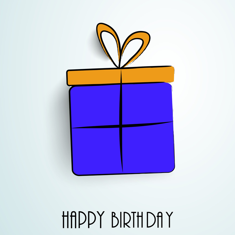 Happy Birthday Greeting Card Or Invitation Card With Blue Gift Bag Tied With Yellow Ribbon