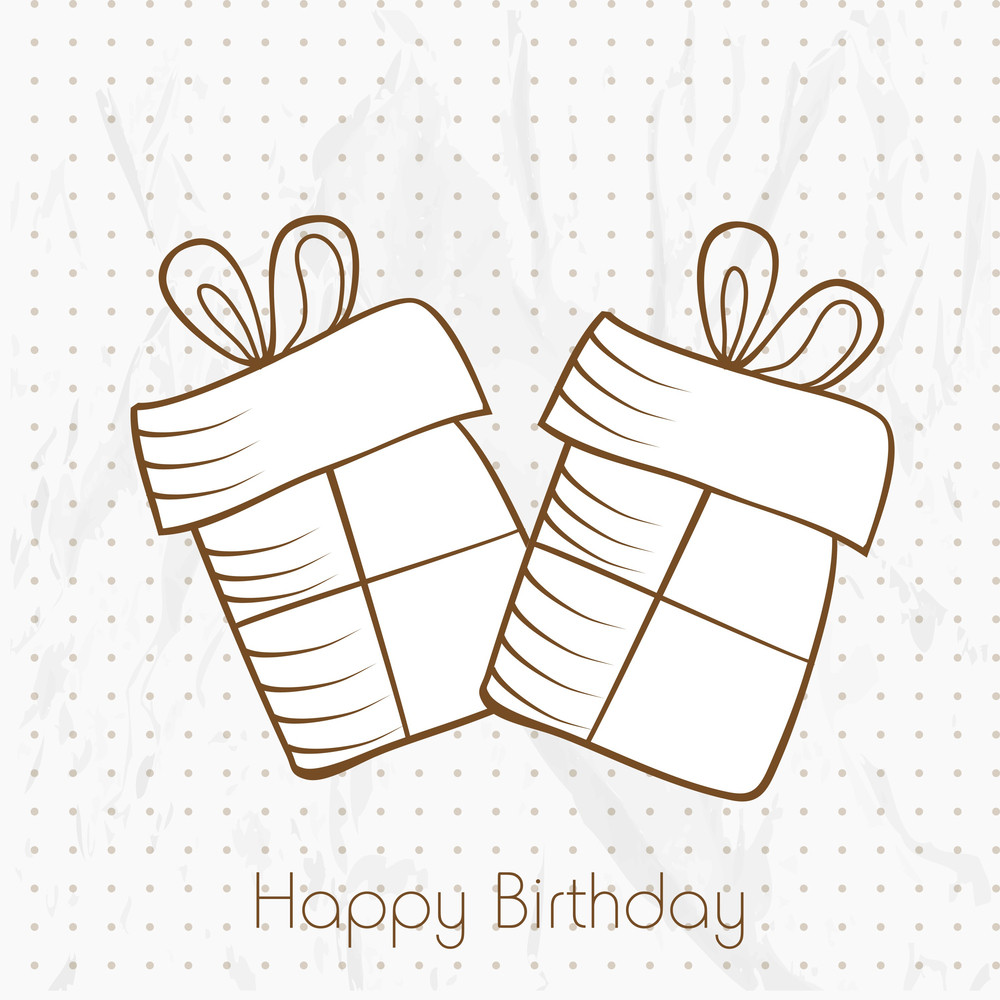 Happy Birthday Greeting Card Or Invitation Card With Brown Gift Bags On Dotted Grungy Background