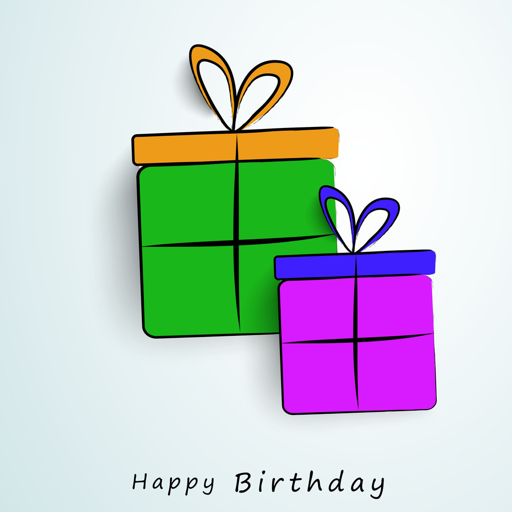 Happy Birthday Greeting Card Or Invitation Card With Colorful Gift Boxes