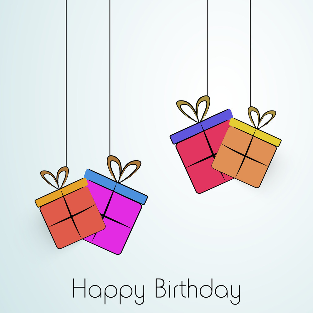 Happy Birthday Greeting Card Or Invitation Card With Colorful Hanging Gift Bag