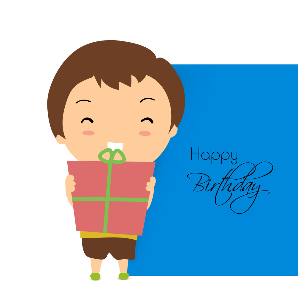 Happy Birthday Greeting Card Or Invitation With Cute Little Boy Holding Gift Box On Grey