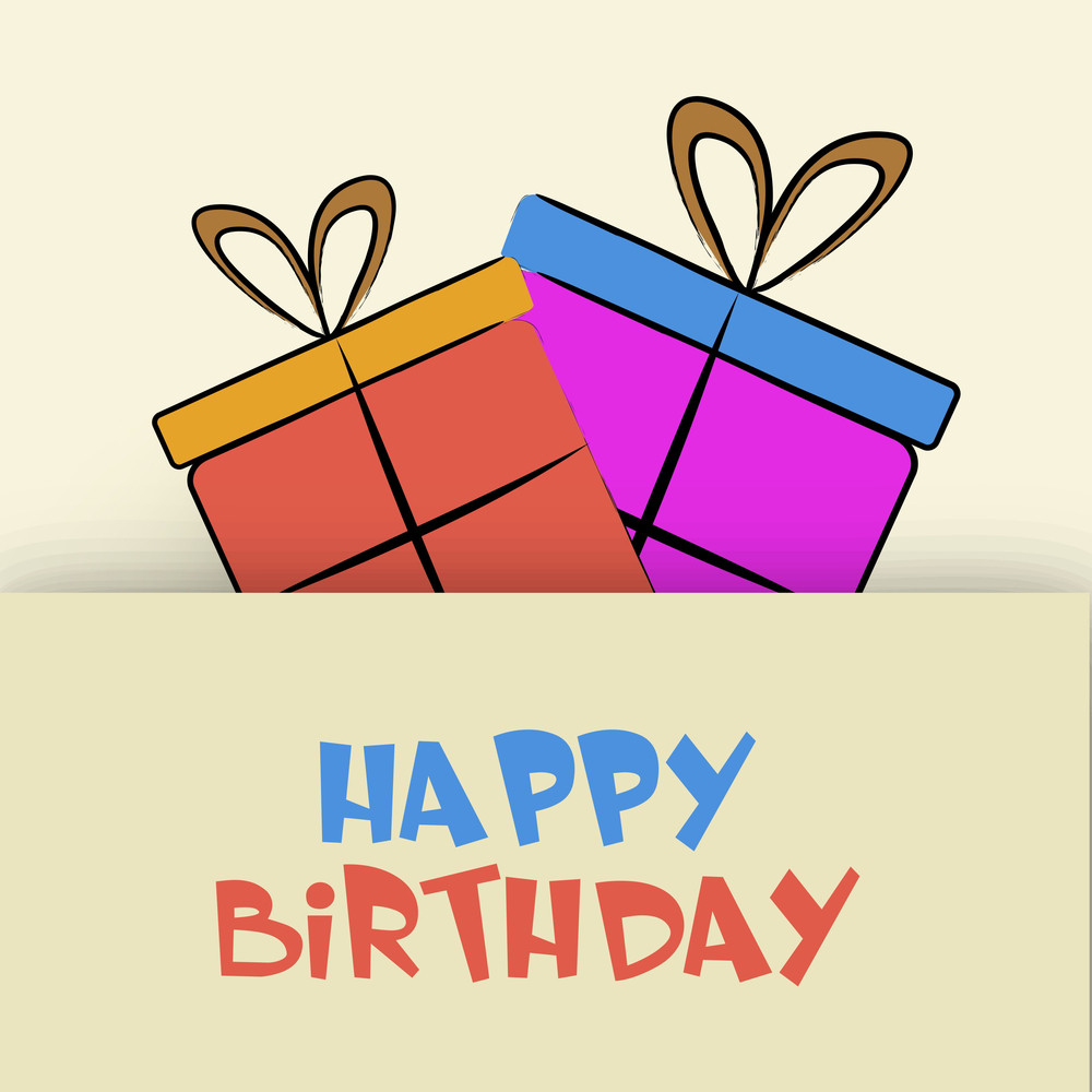 Happy Birthday Invitaion Card Or Greeting Card With Colorful Gift Bags And Stylish Text