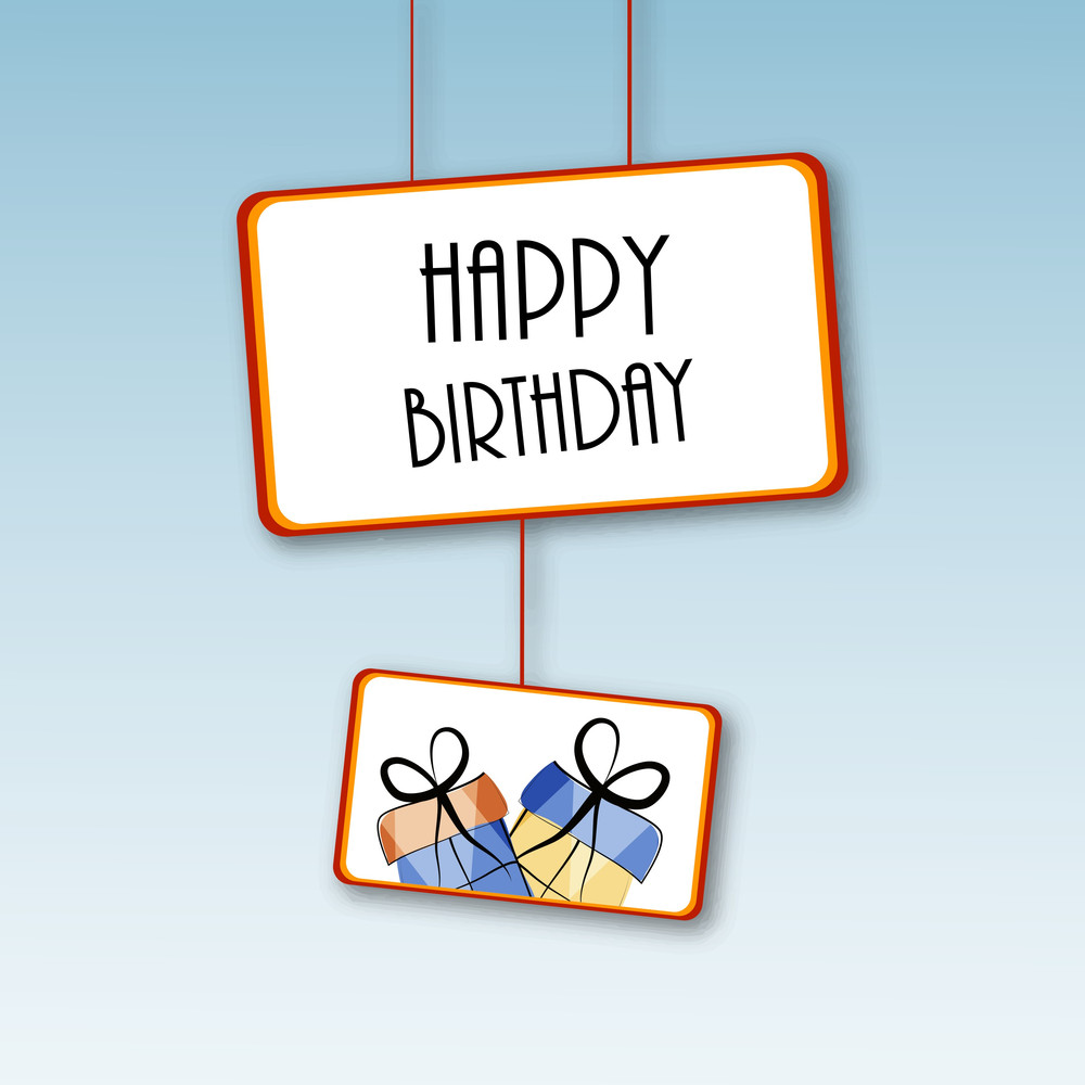 Happy Birthday Poster And Gift Bags Hanging On Blue Background