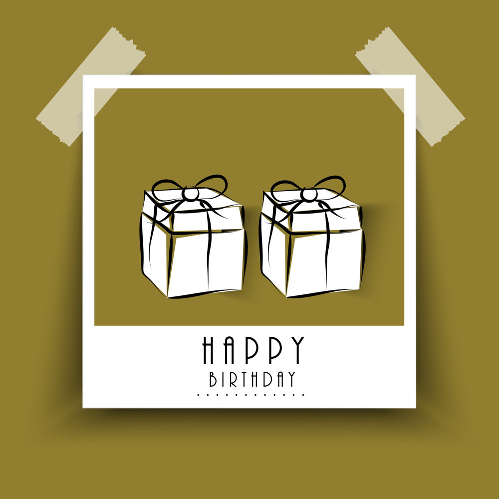 Happy Birthday Poster Or Label Pasted With Tape On Brown Background