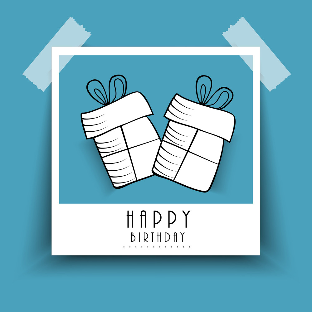 Happy Birthday Poster Or Label With Two Gift Bags Pasted On Blue Background