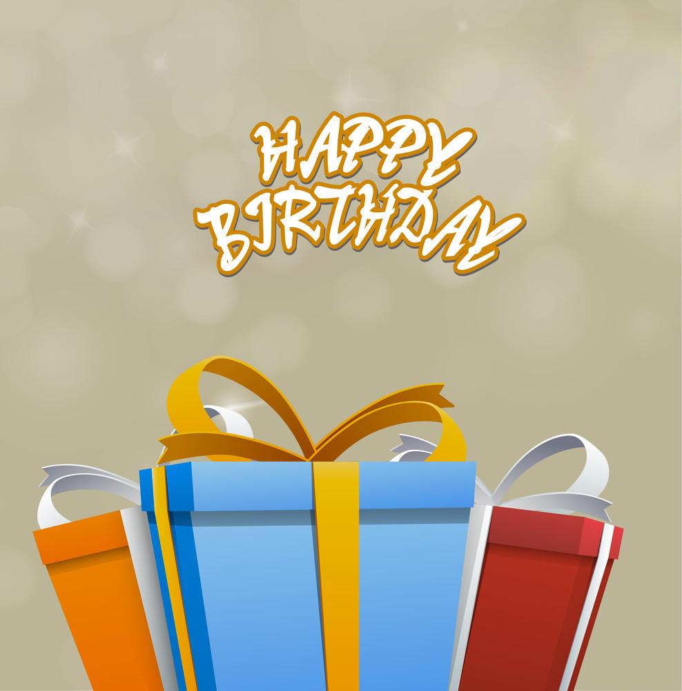 Happy Birthday Stylish Text And Colorful  Gift Bags On Shiny Background