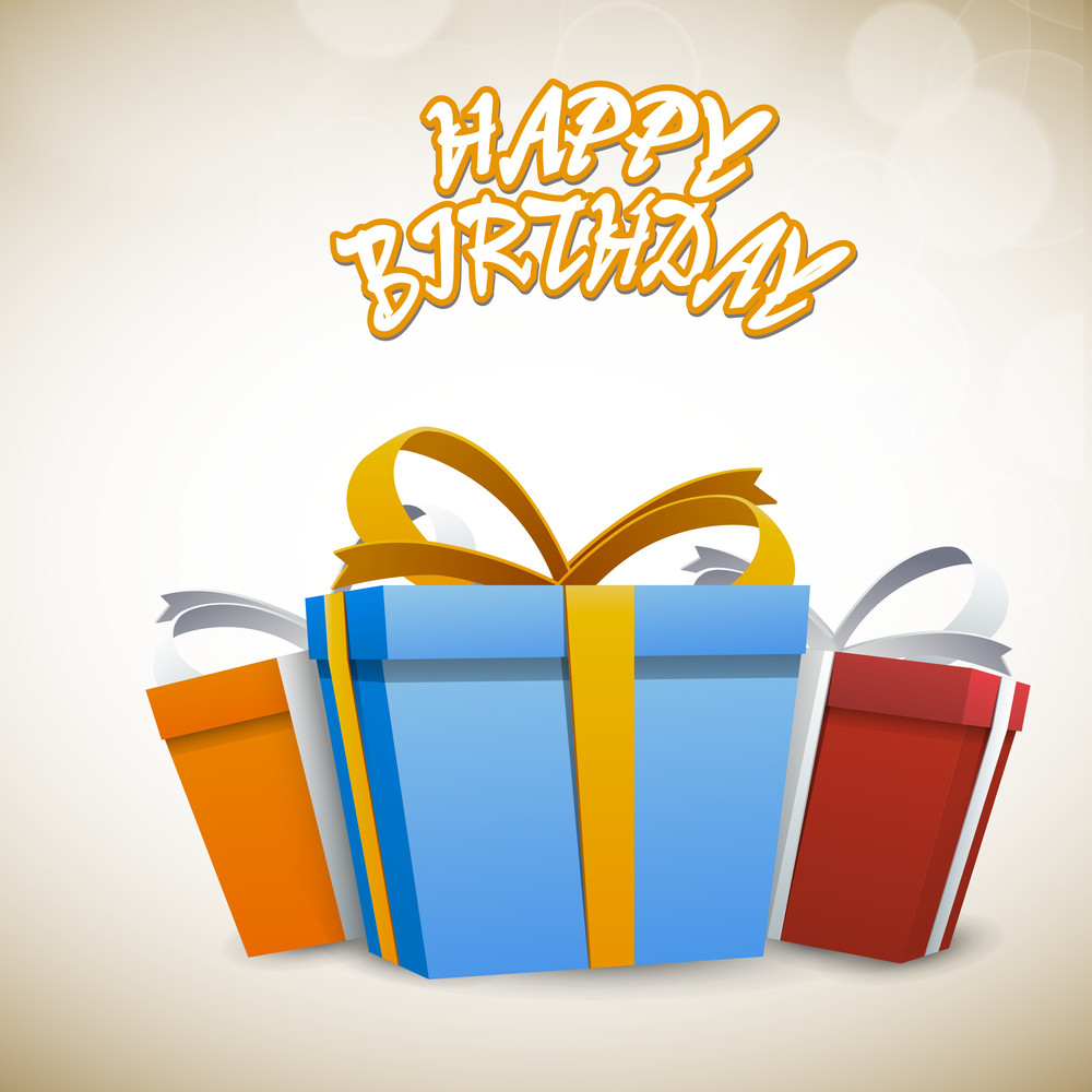 Happy Birthday Stylish Text With Big Colorful Gift Boxes On Shiny