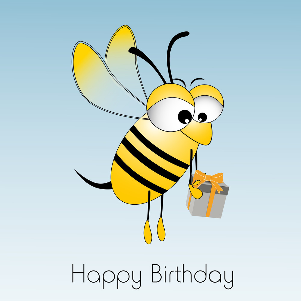 Happy Birthday Wishes With Illustration Of Honeybee Holding Gift Box On Blue Background