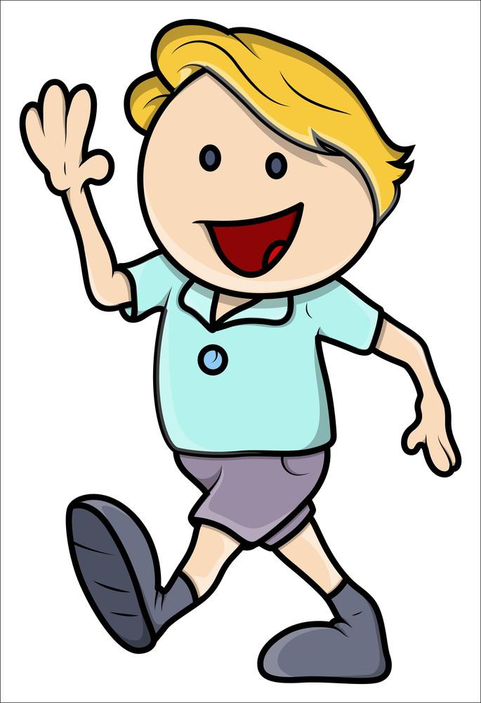 happy boy walking vector cartoon illustration royalty free stock rh storyblocks com cartoon person walking to school cartoon person walking a dog