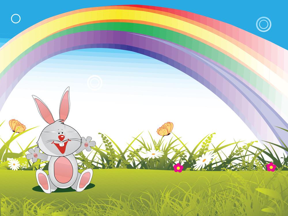 Happy Bunny In The Garden Illustration