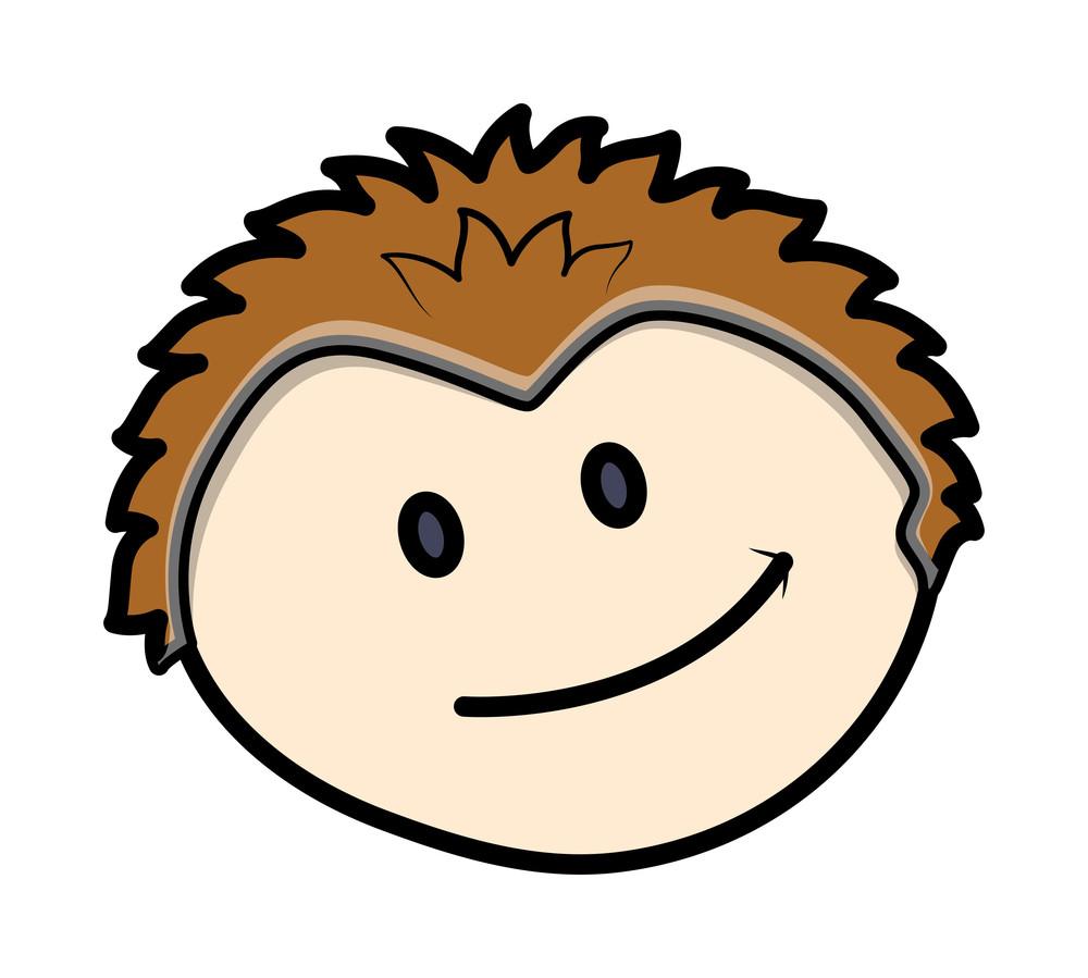 Happy Cartoon Boy Face Vector