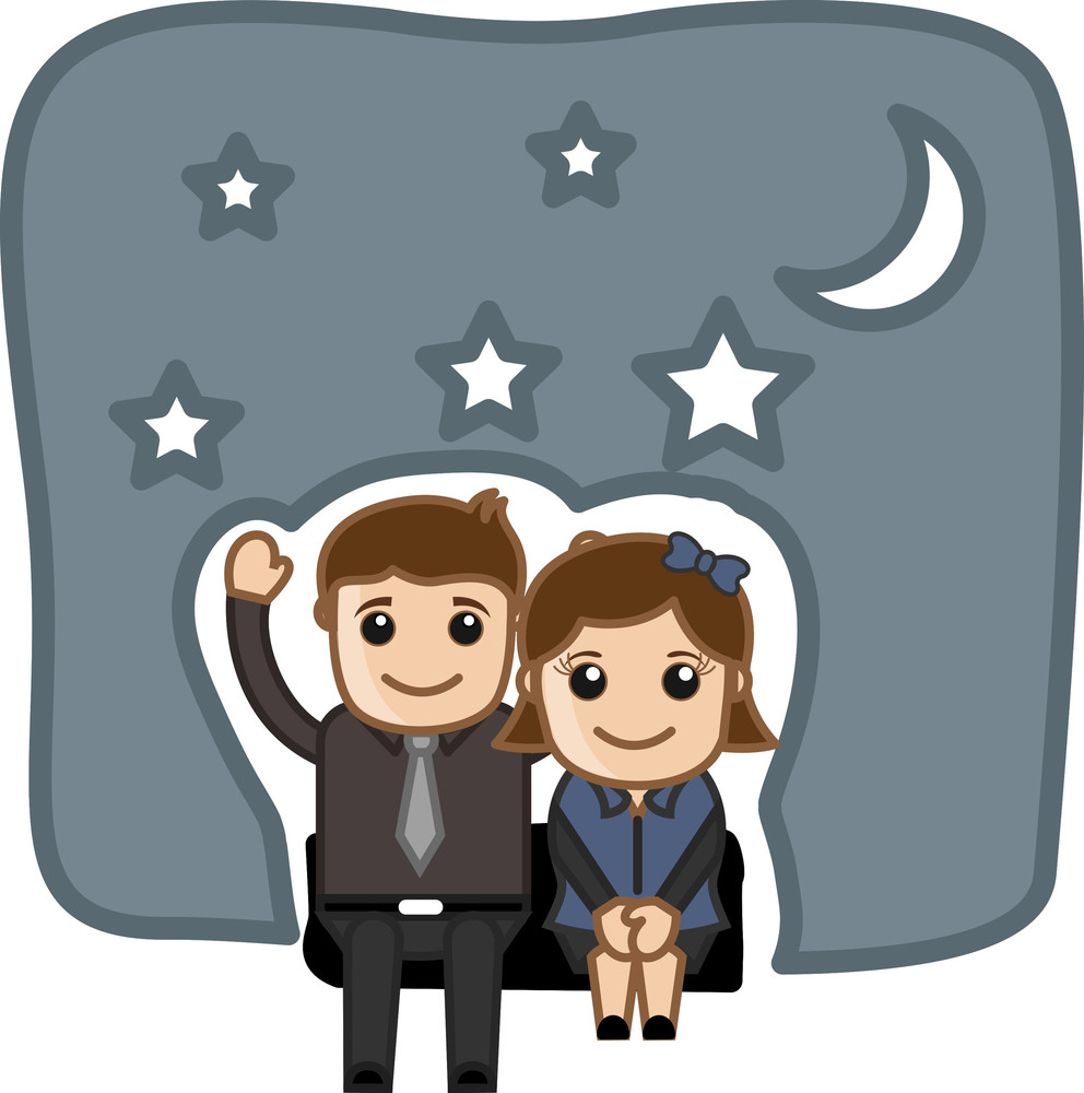 Happy Cartoon Couple In Night Vector Illustration