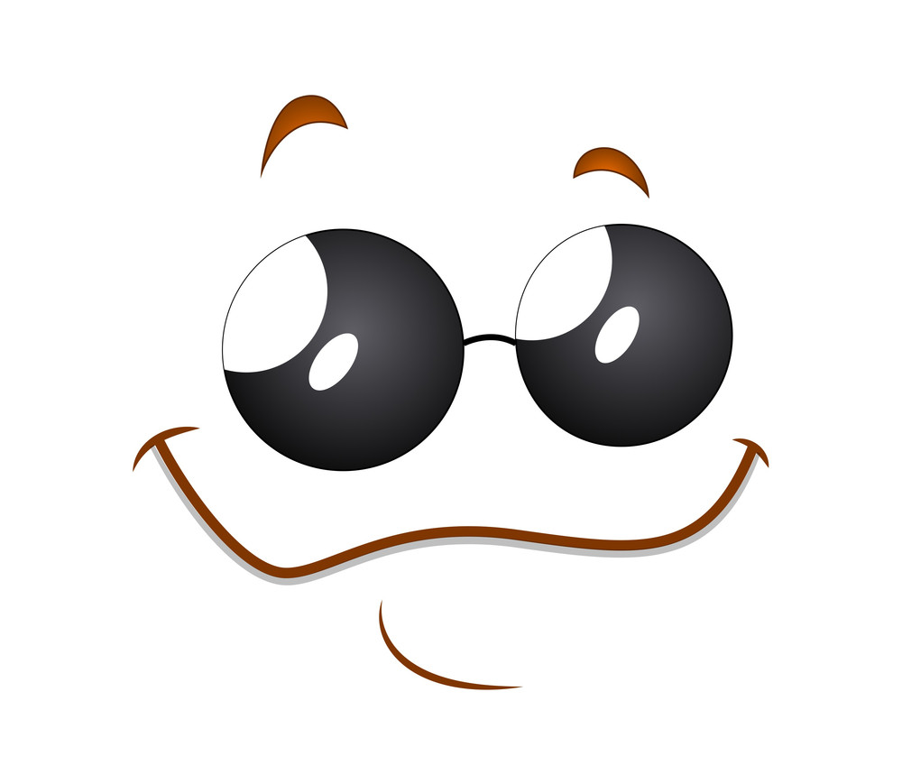 Happy Cartoon Face Expression With Sunglasses