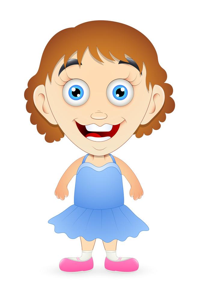 Happy Cartoon Girl Character