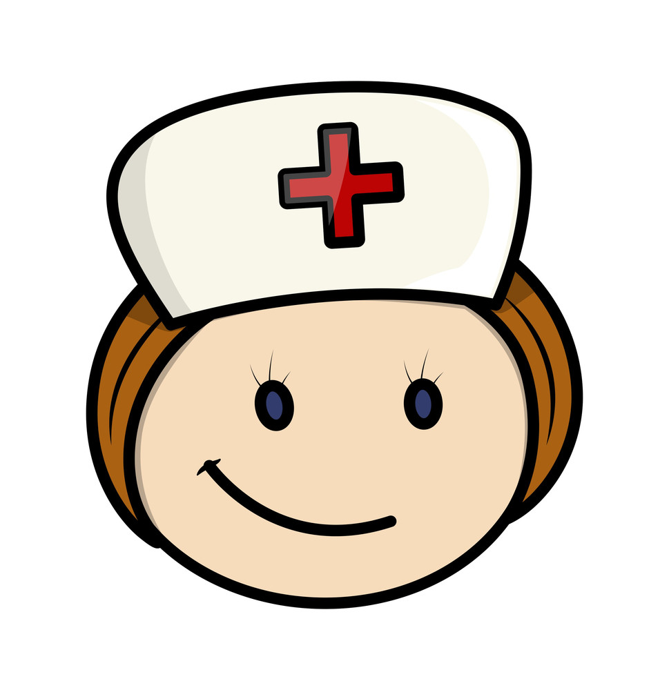 Happy Cartoon Nurse Character Face