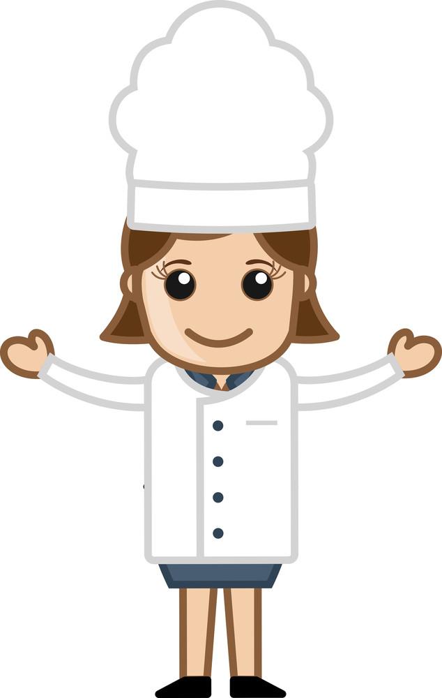 Happy Chef Woman Presenting - Cartoon Vector