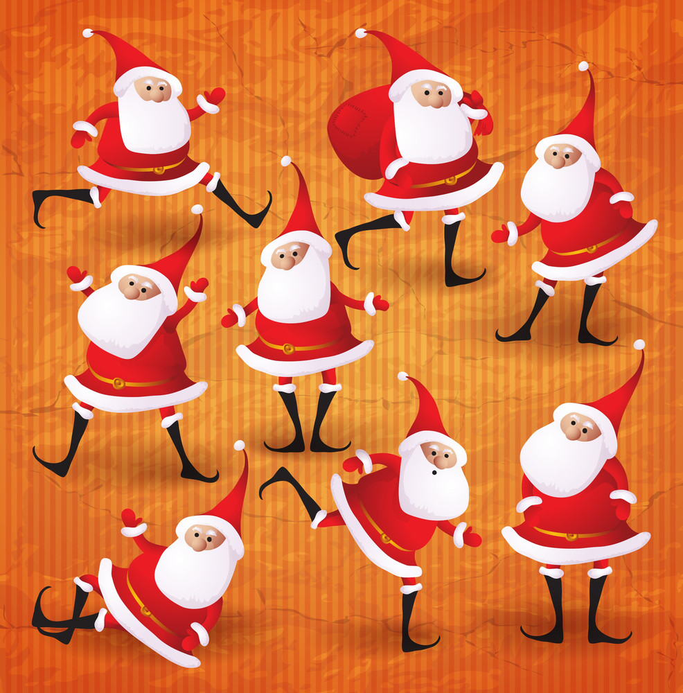 Happy Christmas Santa. Vector Cartoon Collection.