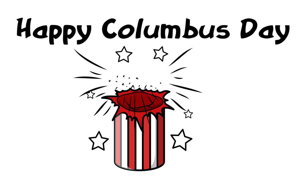Happy Columbus Day Burst Banner