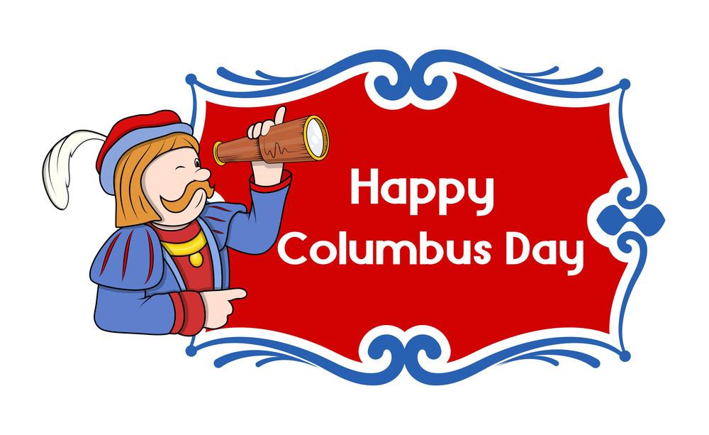 Happy Columbus Day Cartoon Banner