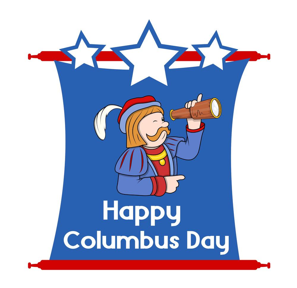 Happy Columbus Day Cartoon Graphic Vector