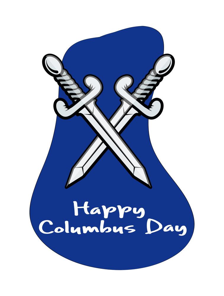 Happy Columbus Day Cross Swords Banner
