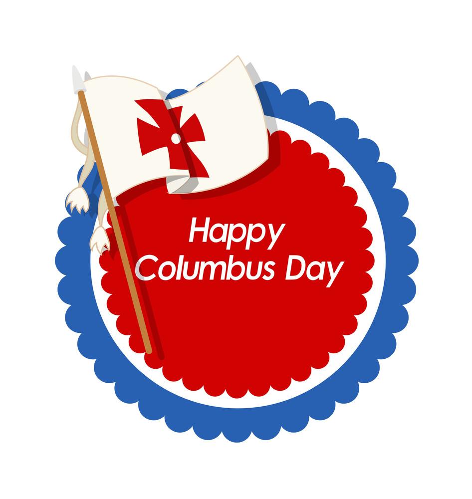Happy Columbus Day Flag Vector Banner