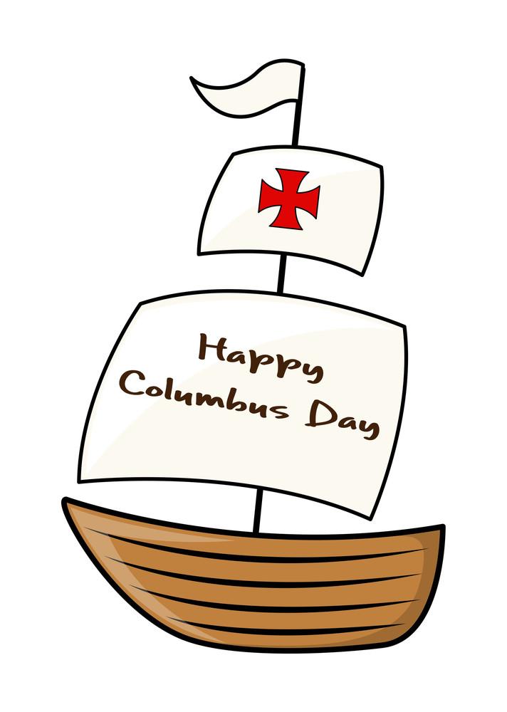 Happy Columbus Day Sailing Boat