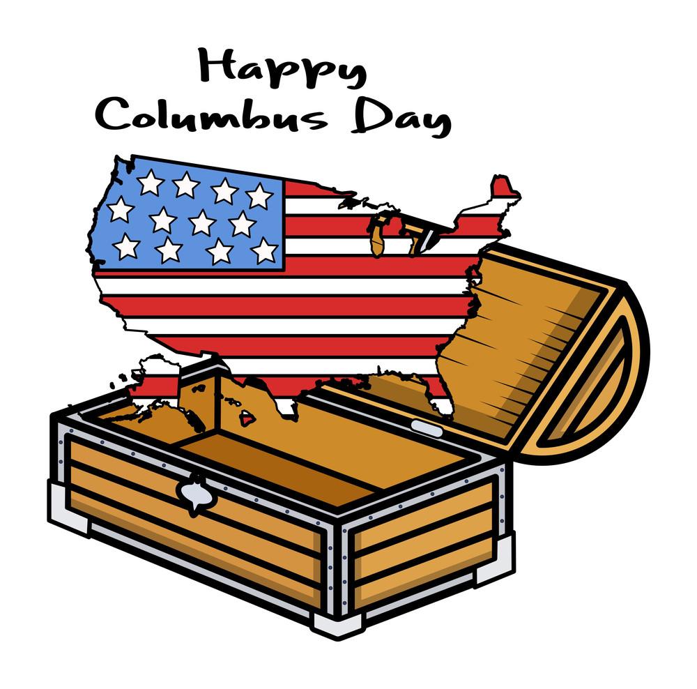 Happy Columbus Day Usa Map Treasure Vector