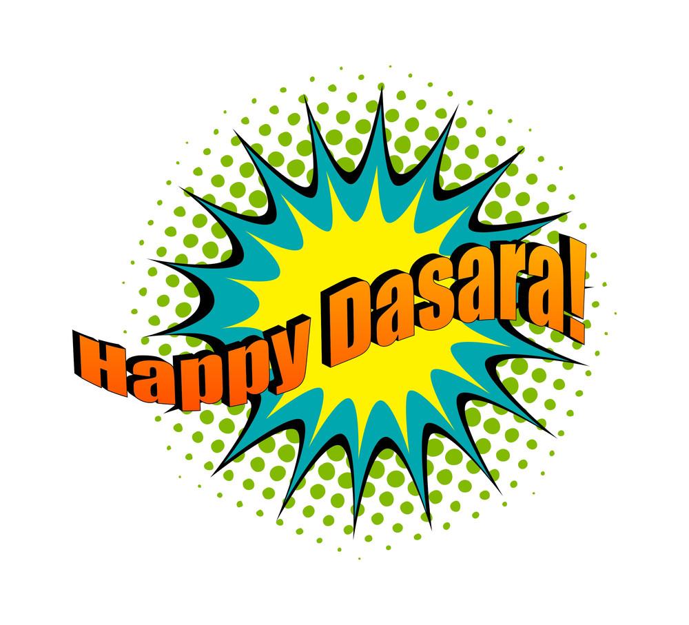 Happy Dashara Retro Text Banner Vector