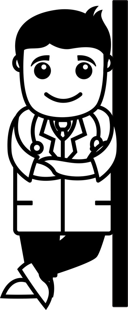 Happy Doctor Profile - Office Cartoon Characters