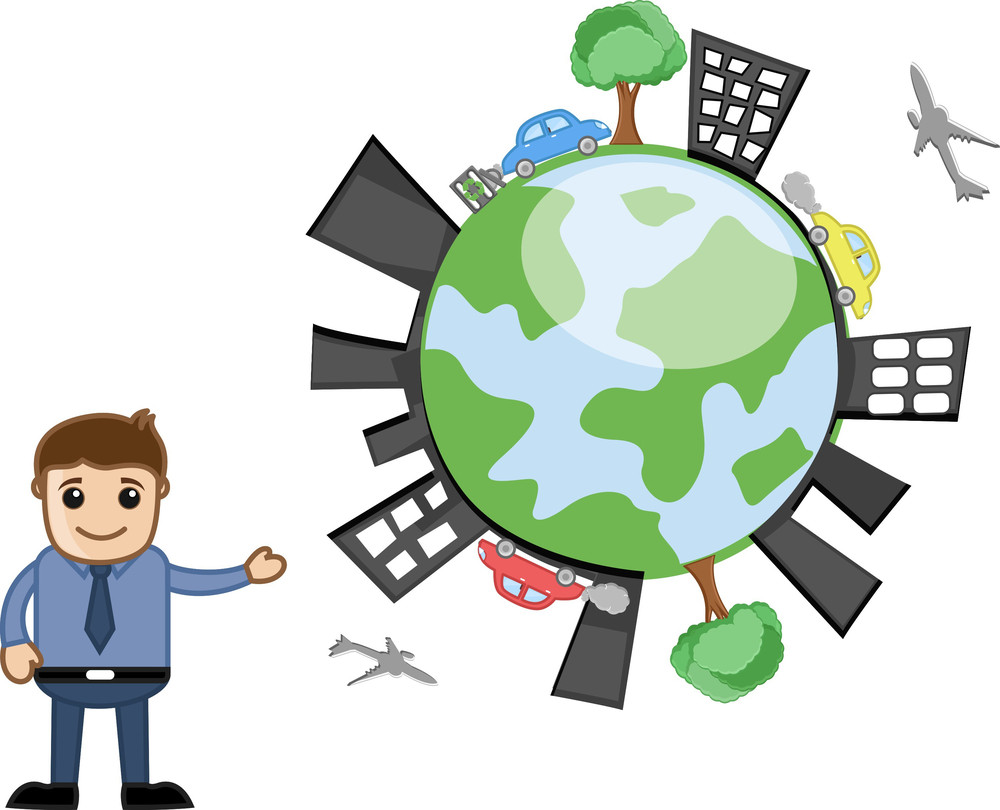 Happy Earth - Ecology Vector Concept