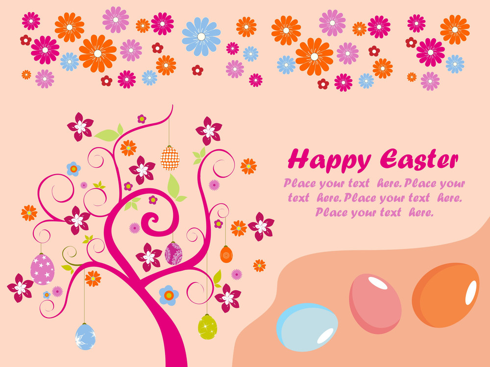 Happy Easter Background With Sample Text