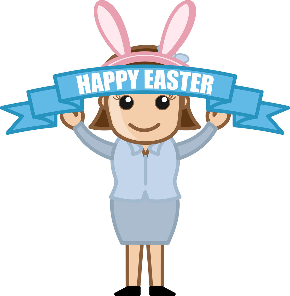 Happy Easter Banner - Cartoon Business Characters