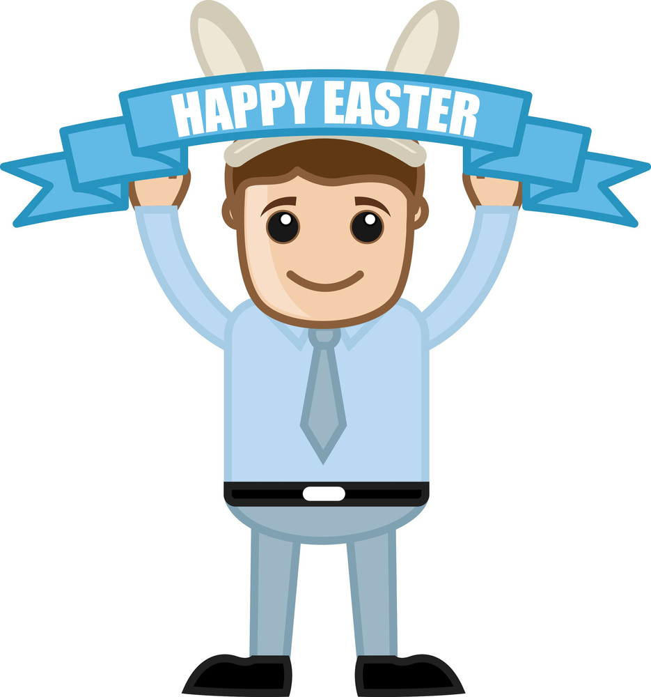 Happy Easter Celebration - Cartoon Business Characters