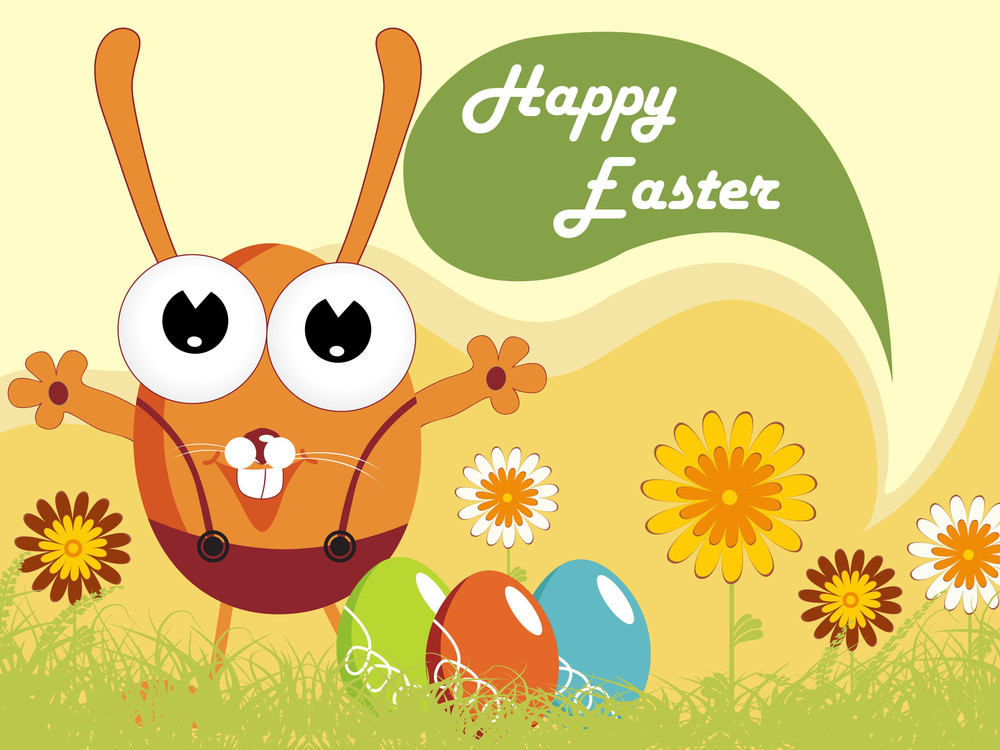 Happy Easter With Garden Background