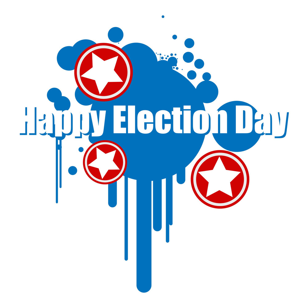 Happy Election Day  Grunge Vector Illustration