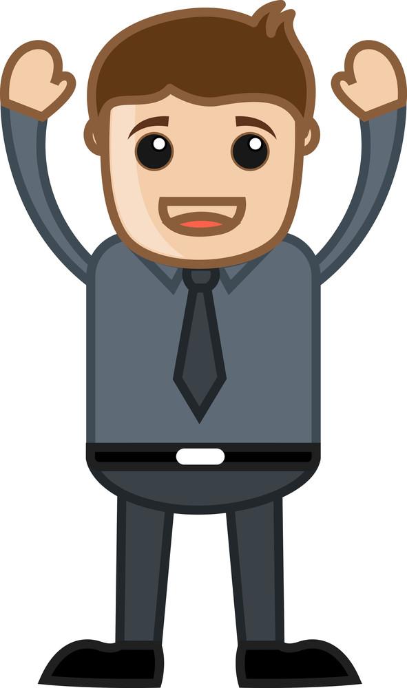Happy Employee - Business Cartoon Character Vector