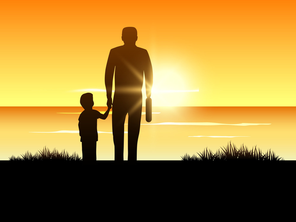 Happy Fathers Day Background With Silhouette