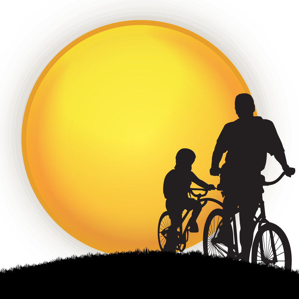 Happy Fathers Day Concept With Silhouette Of Father And Child