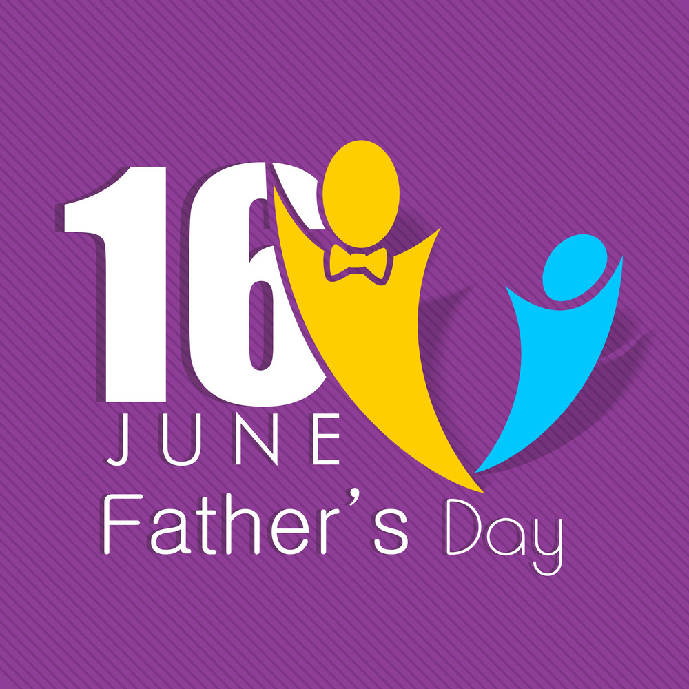 Happy Fathers Day Concept With Symbol Of A Father And Child Royalty