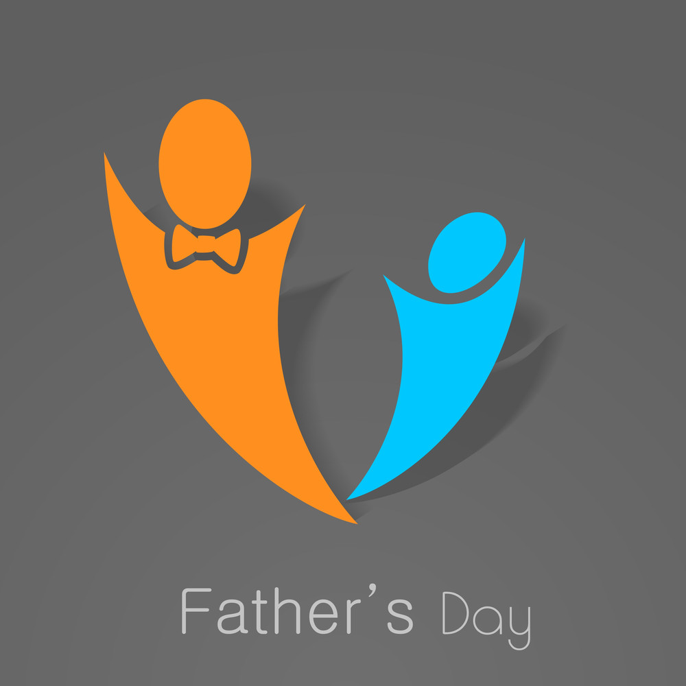 Happy Fathers Day Concept With Symbol Of Father And Son Royalty Free