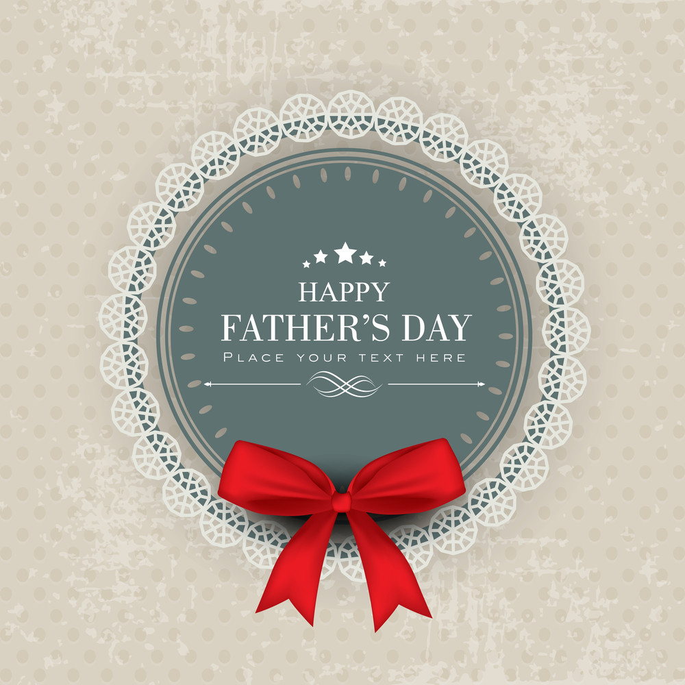 Happy Fathers Day Greeting Or Gift Card With Red Ribbon