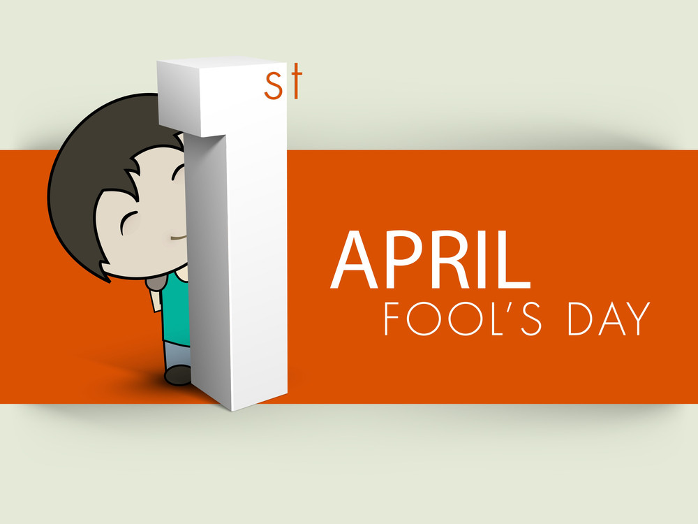 Happy Fool's Day Funky Background With Cute Boy Holding Numeric Number One On Abstract Background.