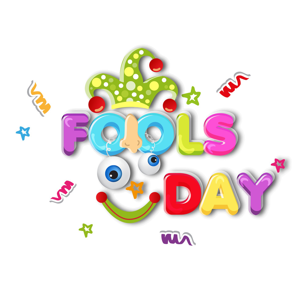 Happy Fool's Day Funky Concept With Colorful Text And Funny Elements On Grey Background.