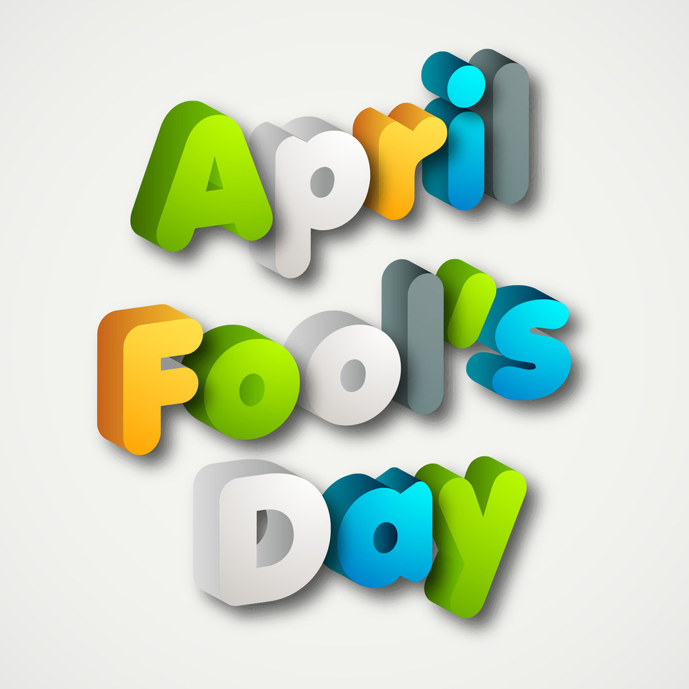 Happy Fool's Day Funky Concept With Colorful Text On Grey Background.