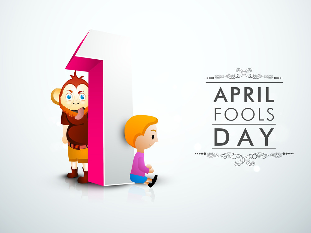 Happy Fool's Day Funky Concept With Cute Little Boy And Monkey With Numerical Text One On Grey Background.