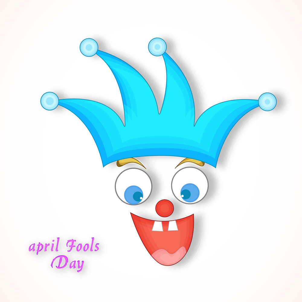 Happy Fool's Day Funky Concept With Funny Faces On Abstract Background.